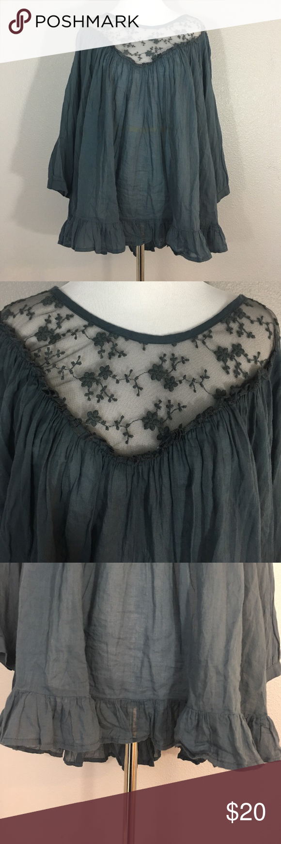 """Women's Cost Plus World Market boho Blouse s/m Women's Cost Plus World Market boho hippie Blouse with lace trim at shoulder and back. Buttons at the back. Size small/medium. 100% Cotton but dry clean only due to the lace detail. Measurements laying flat- armpit to armpit: 20"""" nape to hem: 24.5"""" cost plus world market Tops Blouses"""