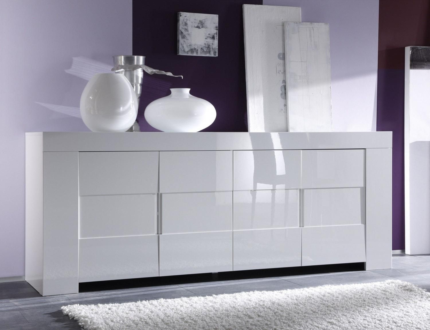 Bahut buffet design laqu blanc 4 portes elios meuble - Buffet meuble design ...