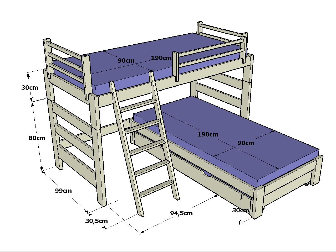 Litera infantil en l de 110cm altura y cama inferior con - Literas nido 3 camas ...