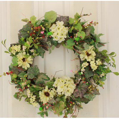 August Grove 22 Silk Wreath Wayfair Silk Wreaths Spring Flower Wreath Red Hydrangea Wreath