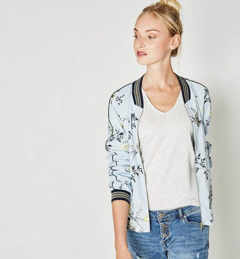 9bab2bffe5b5b2 Bomber satiné Femme bleu - Promod | mujer clothes | Bombers femme ...