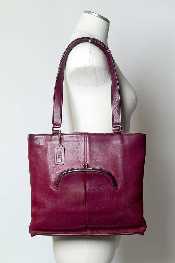 Coach Vintage Burgundy Skinny Tote Bonnie Cashin Kisslock Leather Bag Purse  - the color is to die for! 010a6e0cdb