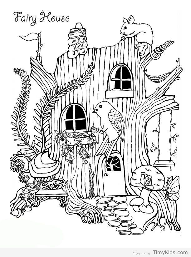 Fairy House Coloring Pages House Colouring Pages