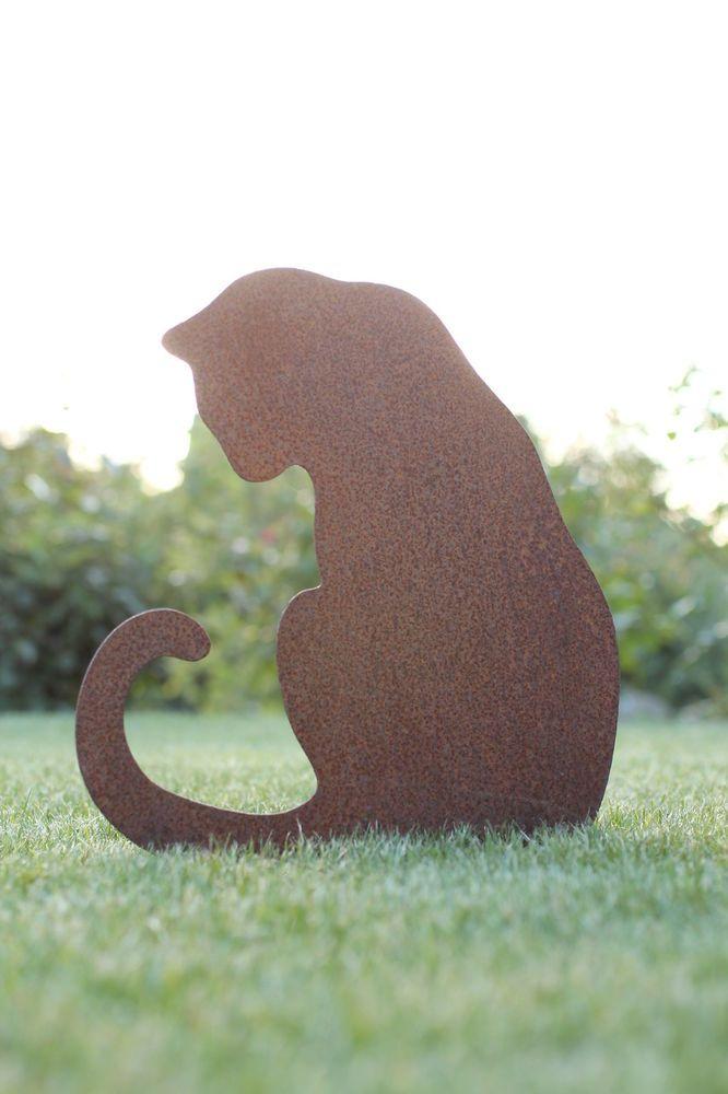 Deko Dekofigur Gartenfigur Metallfigur Katze Edelrost Braun Gartenstecker Ebay Schwarze Katze Kunst Katzen Statue Gartenfiguren