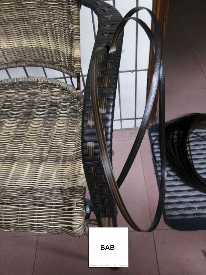 Coffee gradient flat synthetic rattan weaving material plastic rattan for knit