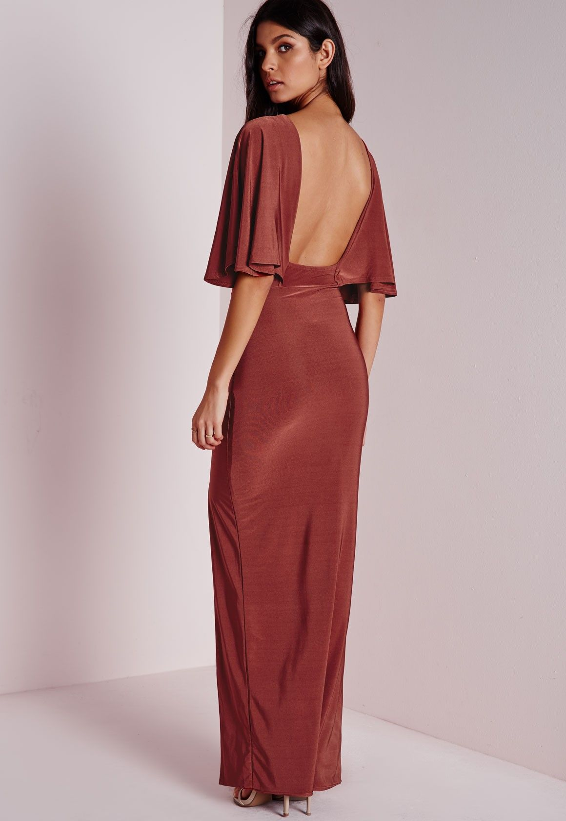 Missguided slinky open back cape maxi dress rust ugh i would look
