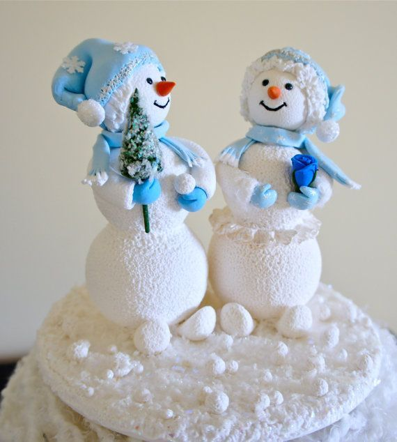 Snowman Cake Topper. Bride and Groom Wedding Cake Toper,Snowman ...