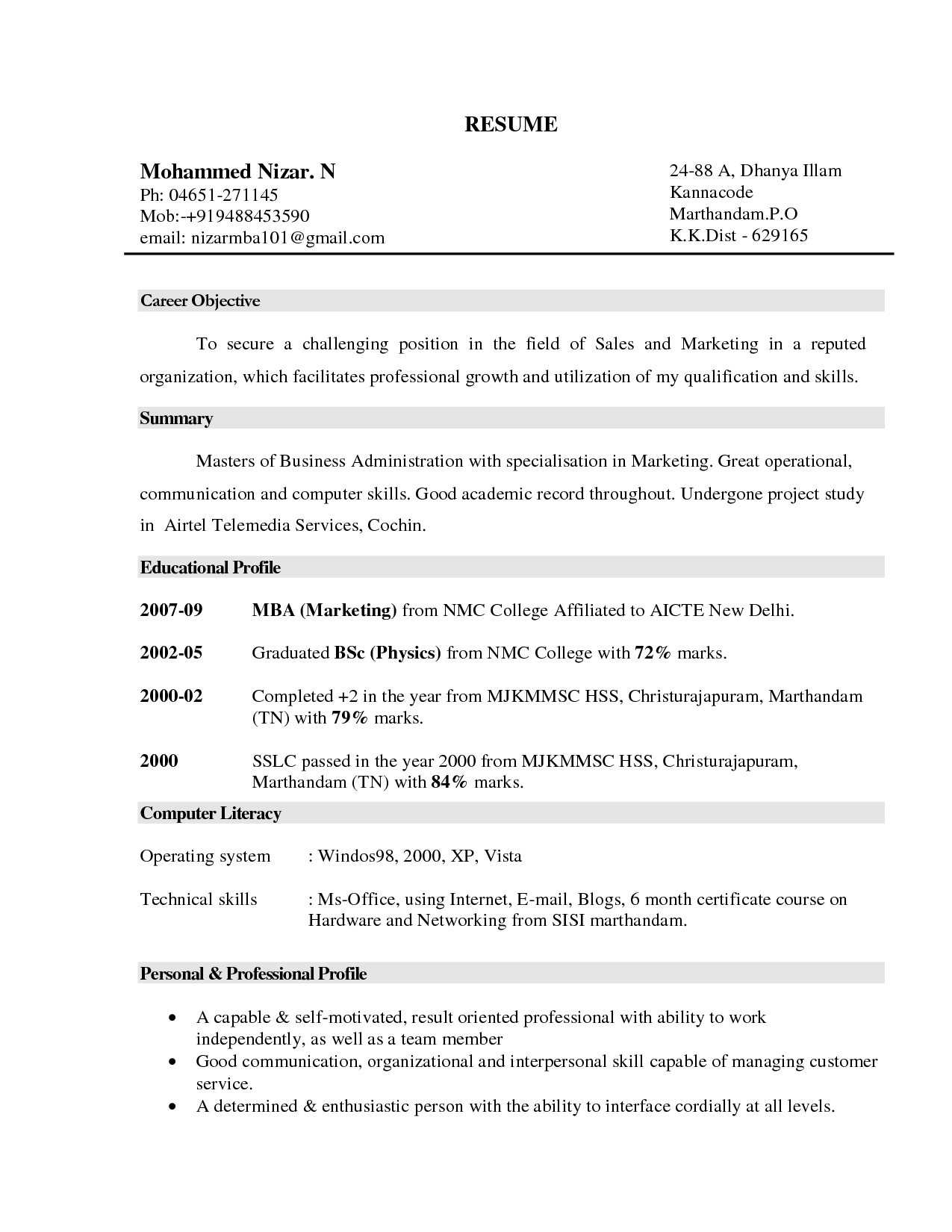 Tips For Resumes Objective Example Resume Marketing