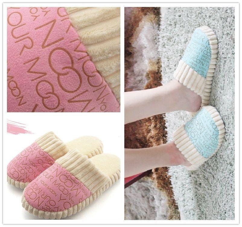 Winter Warm Home Indoor Unisex Men Women Shoes Cotton Slides Sandals Slippers LG