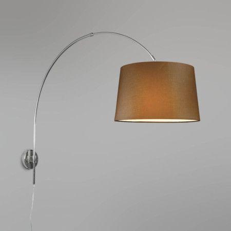 wandbogenleuchte chrom mit schirm 40cm braun wandleuchten pinterest wandleuchte w nde und. Black Bedroom Furniture Sets. Home Design Ideas