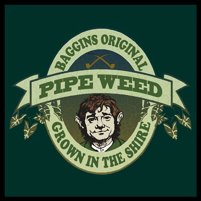~ Baggins Original Pipe Weed  Design ~ Advertising ~ The Hobbit ~   ~ Artist Unknown ~