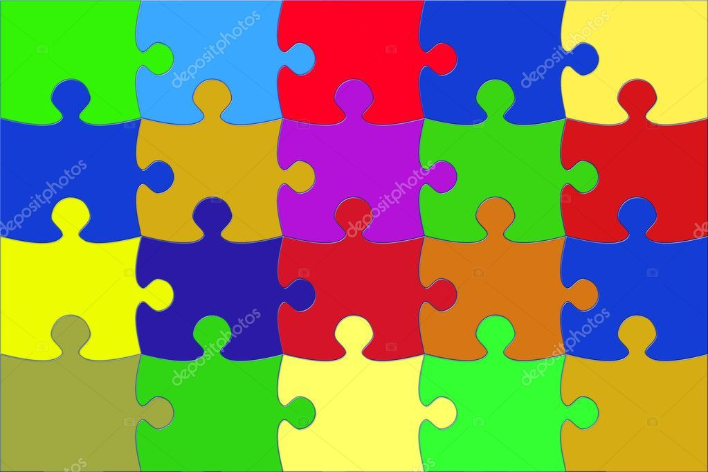 Illustration with the coloured puzzle Stock Image