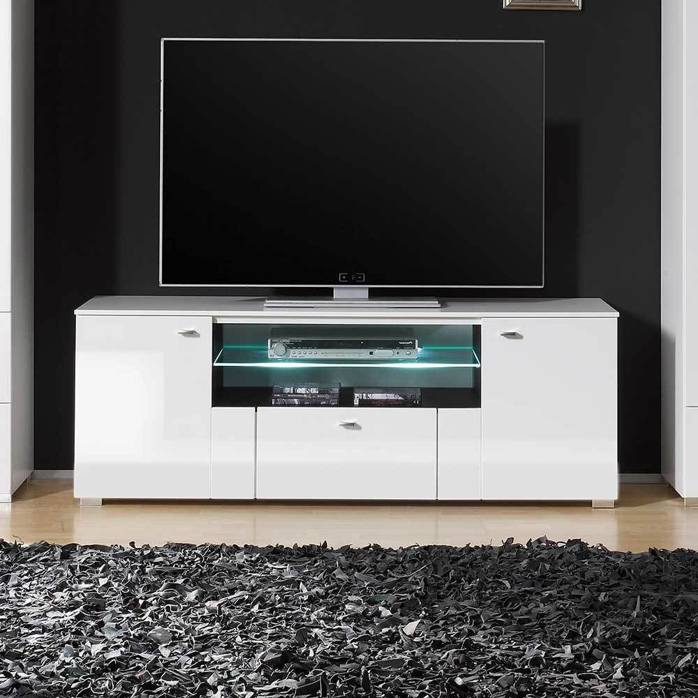 fernsehtisch in wei hochglanz led beleuchtung jetzt bestellen unter. Black Bedroom Furniture Sets. Home Design Ideas