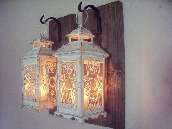 Coppia di lanterna a parete applique da parete arredamento for Applique da parete legno