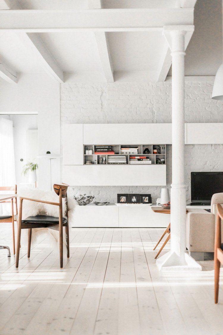 Mobilier Scandinave Vintage Briques Blanches Et Plancher En Pin  # Plancher De Grange Ancien