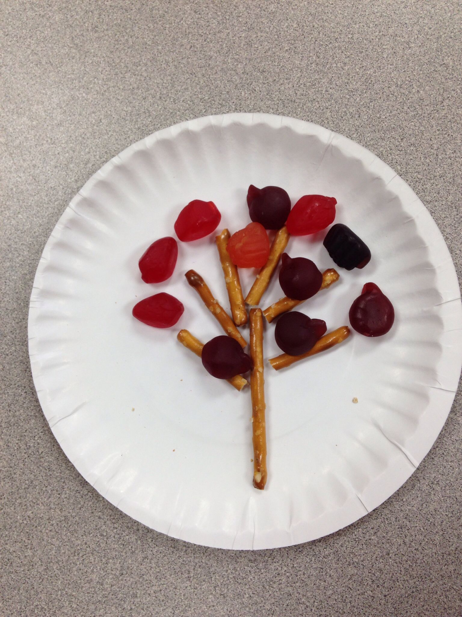 Fall Tree With Stick Pretzels And Fruit Snacks