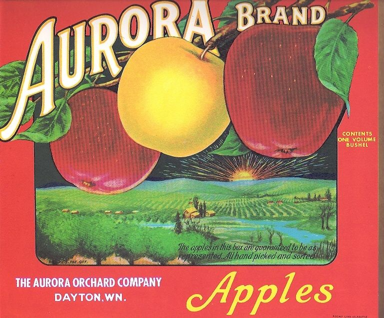 Yakima Washington State Red Ribbon Apple Fruit Crate Label Art Print