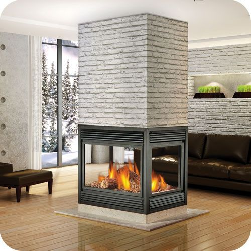Indoor four sided gas fire places four sided gas for Open sided fireplace