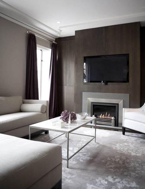 Fireplace With Built In Tv Accent Wall Glam Modern