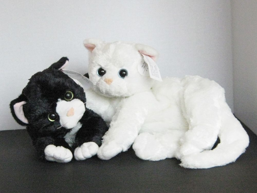 Ty Cat Plush Classic Shadow The Black Cat Crystal White Cat 2