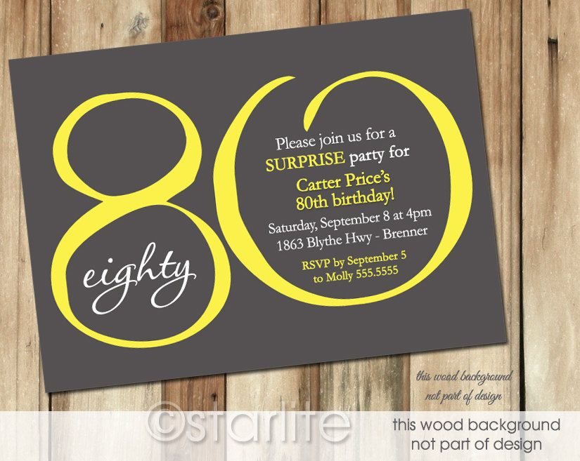 80th Birthday Invitation Yellow Dark Gray Modern