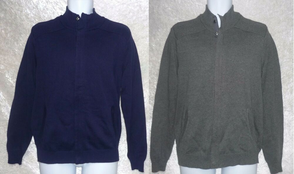 Club Room Mens Sweater Cardigan Zip Front Solid Long Sleeves size S XL NEW