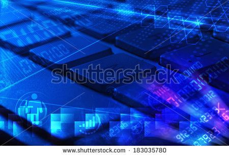 Computer keyboard with glowing codes, programming concept - stock photo