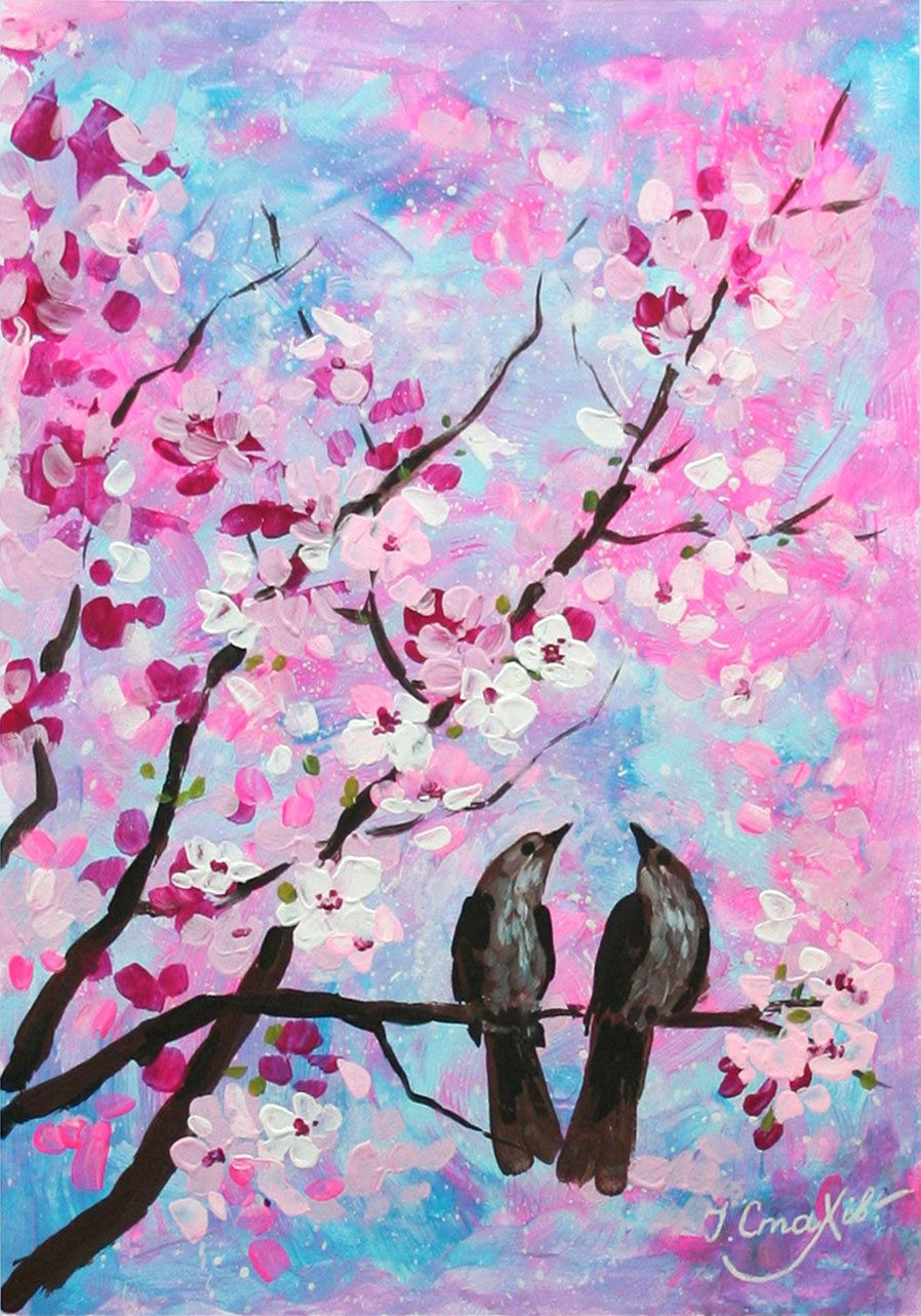 Couple Birds On A Branch Of Blooming Cherry Tree Cherry Blossom Painting Cherry Blossom Painting Acrylic Tree Painting