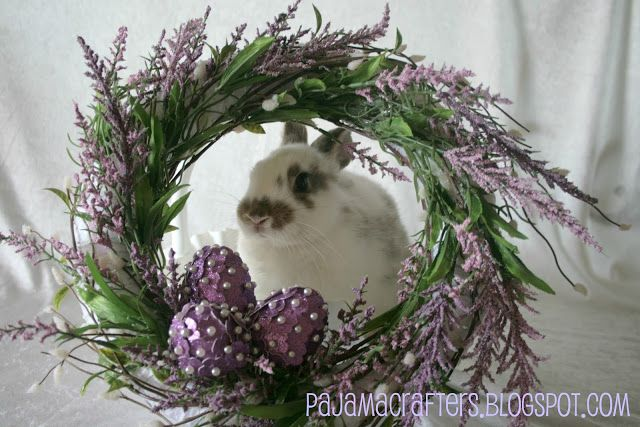 Easter wreath with embellished eggs. Pajama Crafters: Easter