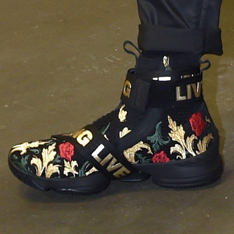 eddfd3ca85d Kith x Nike LeBron 15 Strap Black Floral Close