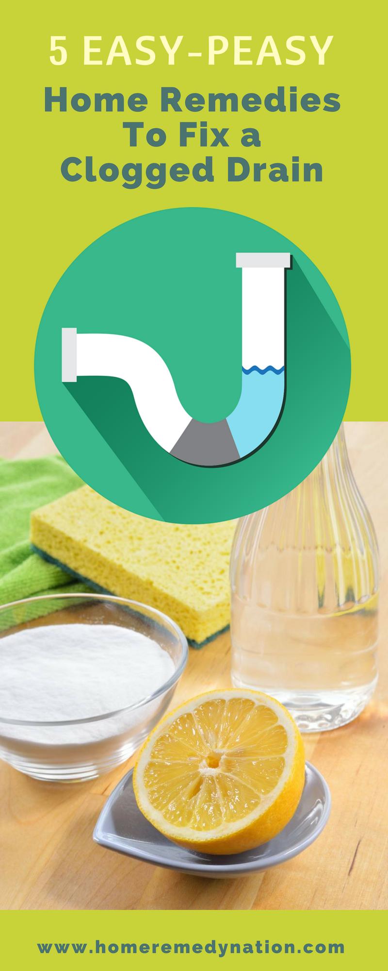 5 Helpful Home Remedies To Fix A Clogged Drain Do It At Home Clogged Drain Home Remedies Remedies