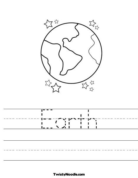 Earth Worksheet from TwistyNoodlecom  Earth Day Coloring Pages