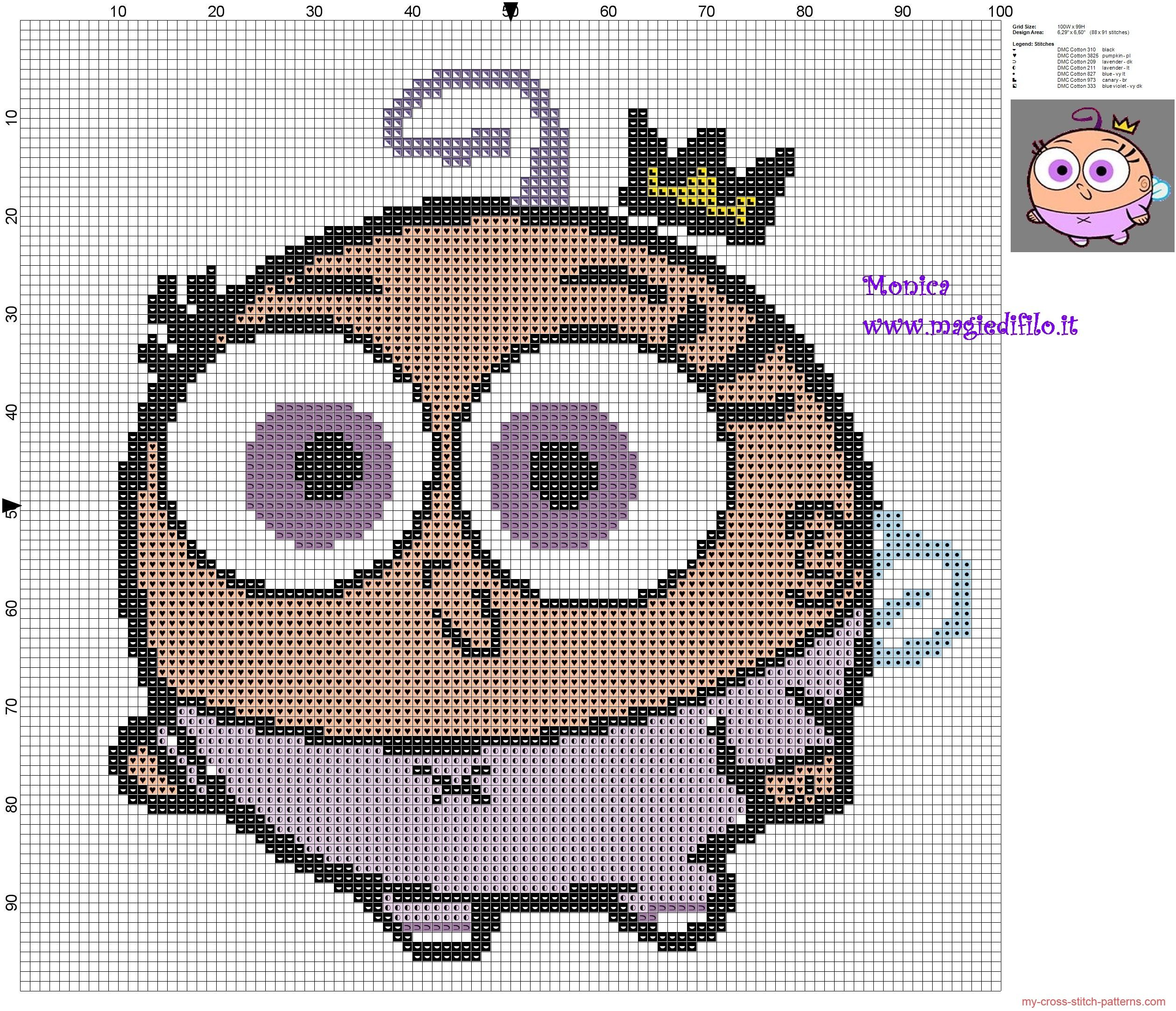 Poof The Fairly OddParents Cross Stitch Pattern