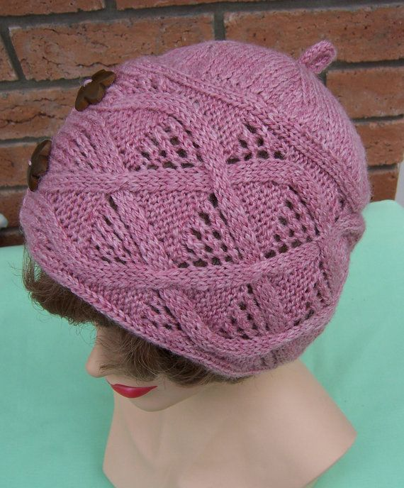 Hand Knitt Pink Cable Handknitted Hat with Vintage Buttons, Womens ...