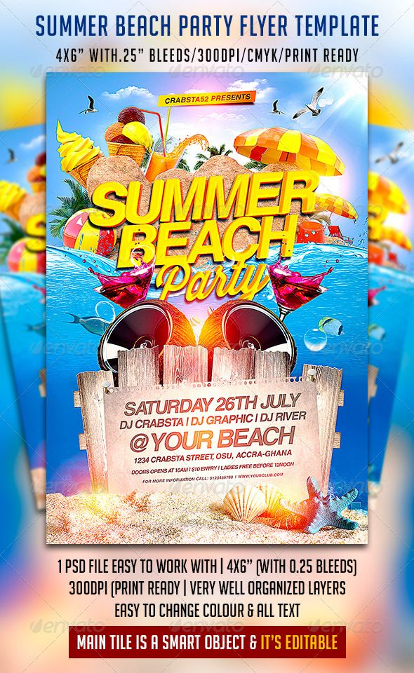 Summer Beach Party Flyer Print Template Psd  Buy And Download