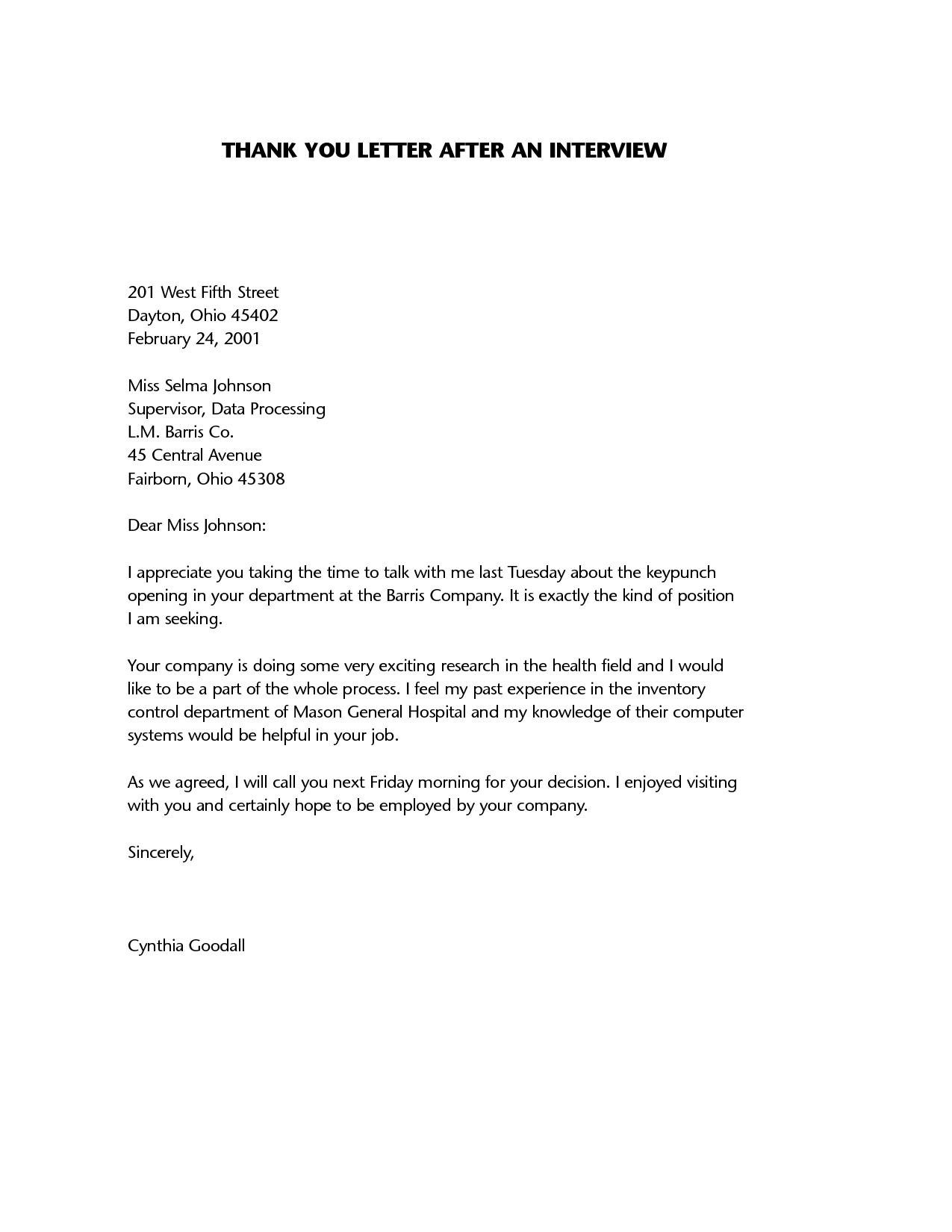 Interview Thank You Letter Template Interview Thank You Letter