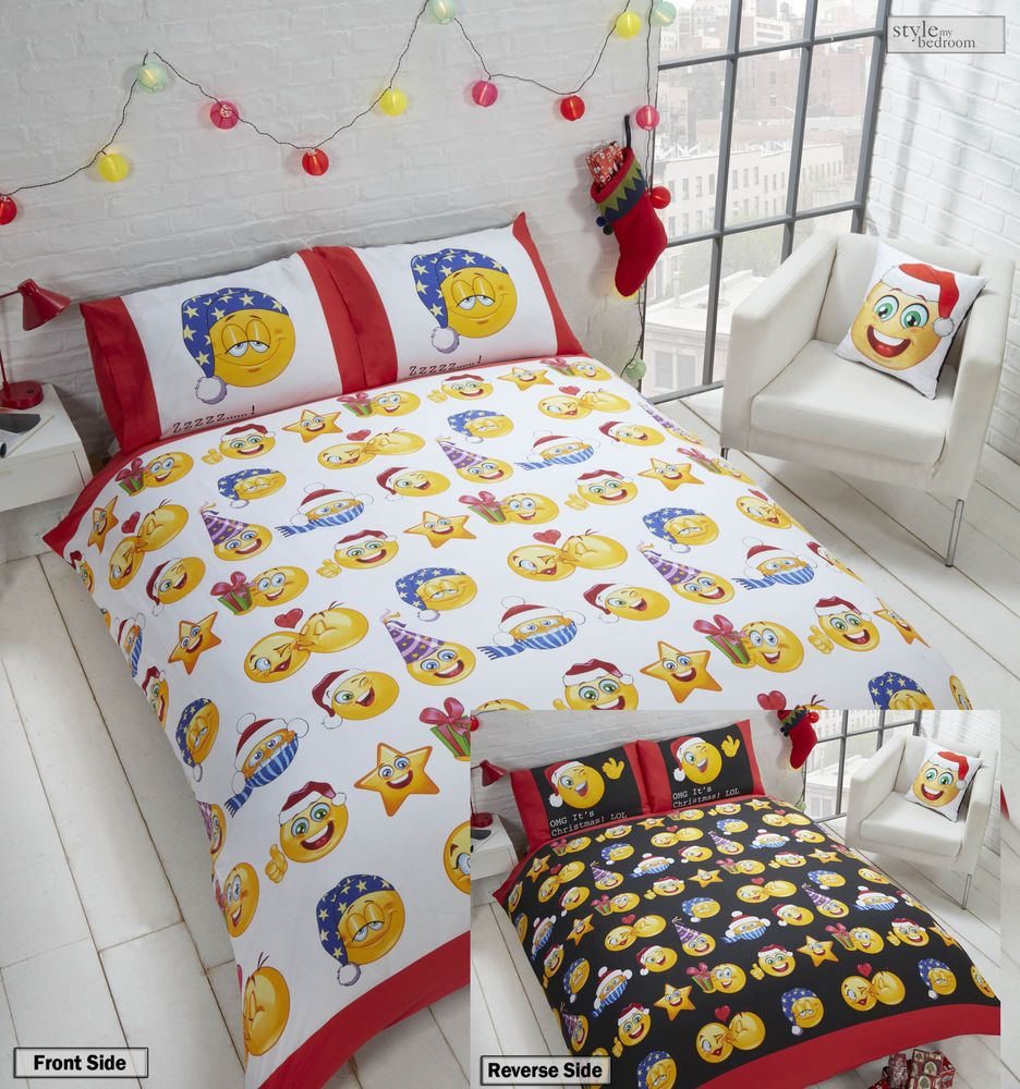 Genial Christmas Emoji Icons 2 Sided Smiley Face Emotion Reversible Duvet Quilt  Cover