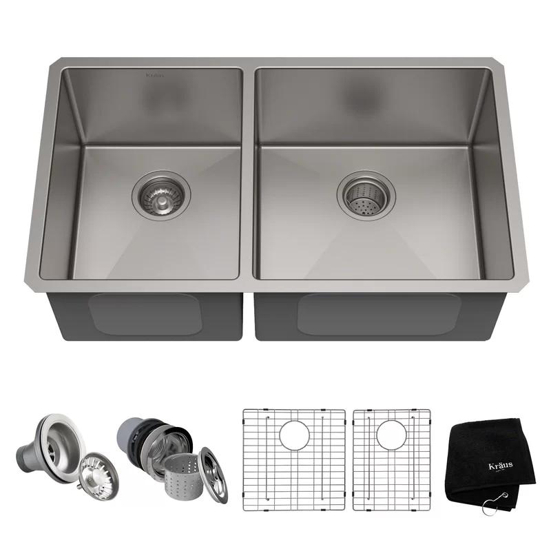 33 L X 19 W Double Basin Undermount Kitchen Sink With Drain Assembly Undermount Kitchen Sinks Double Bowl Kitchen Sink Sink