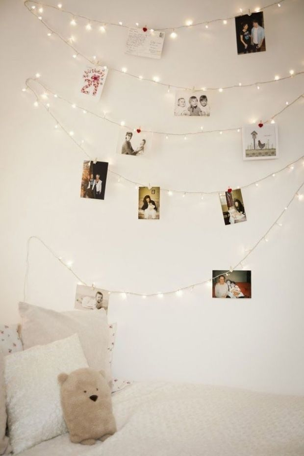 10 Cute Photo Decor Ideas For Your Dorm Fairy Lights Bedroom University Bedroom Photo Decor