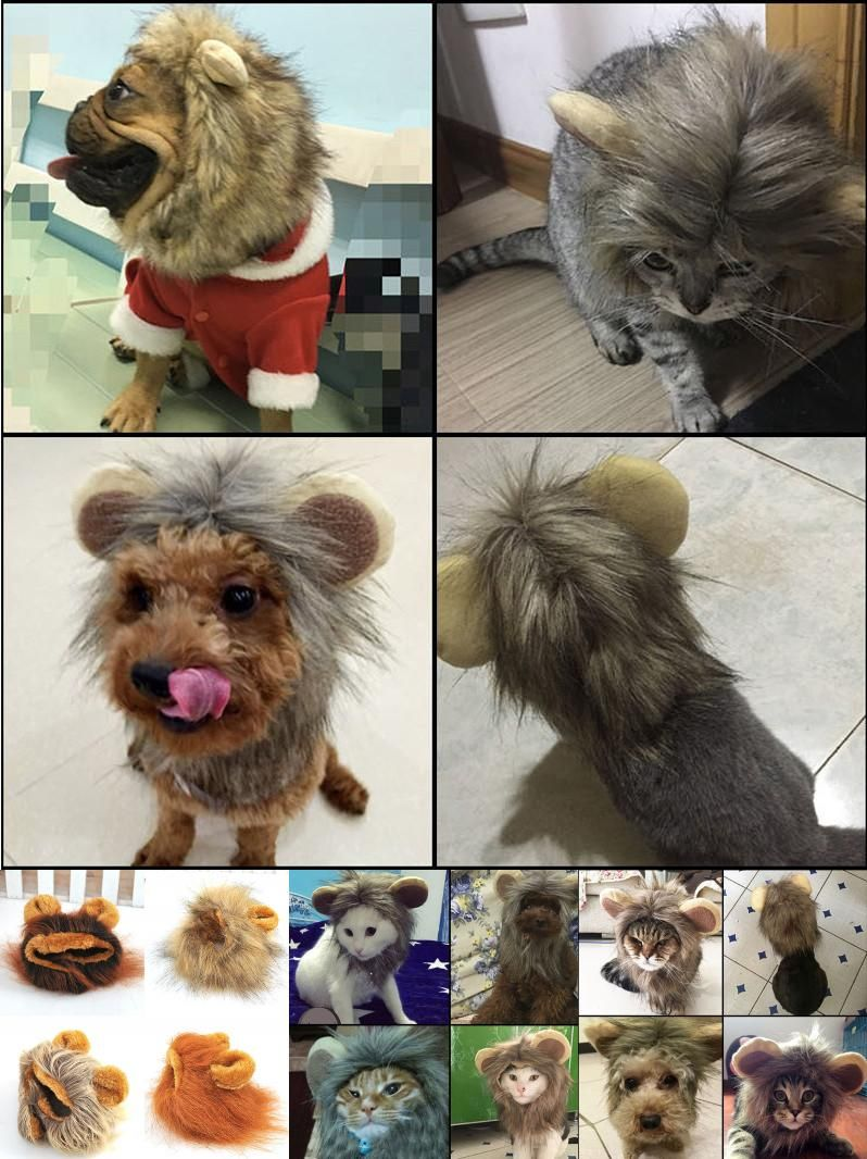 Visit to buy cute pet hat costume lion mane cat wig halloween dress
