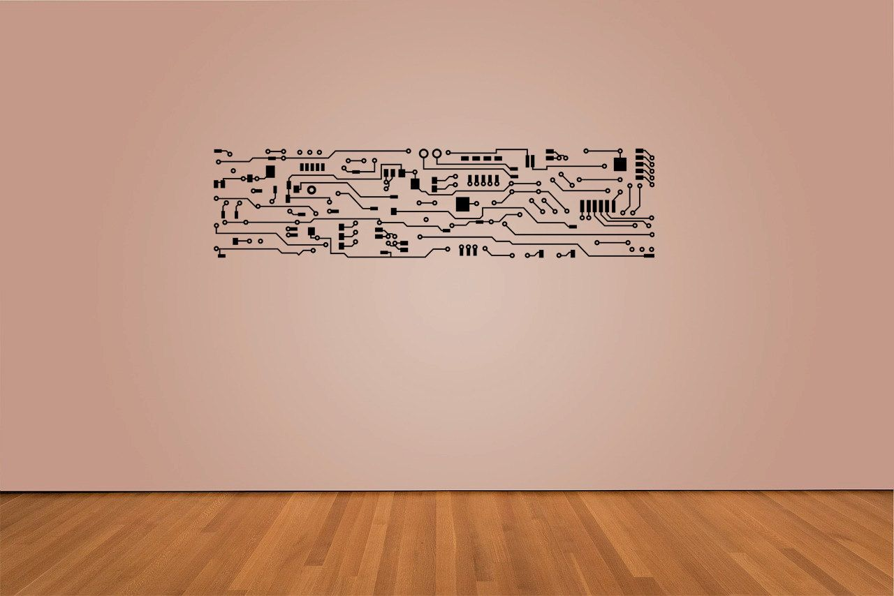 Circuit Board Decal 13 X 13 living room bedroom by OCVinylDesign