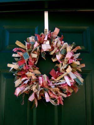Spring colors 12 inch rag wreath