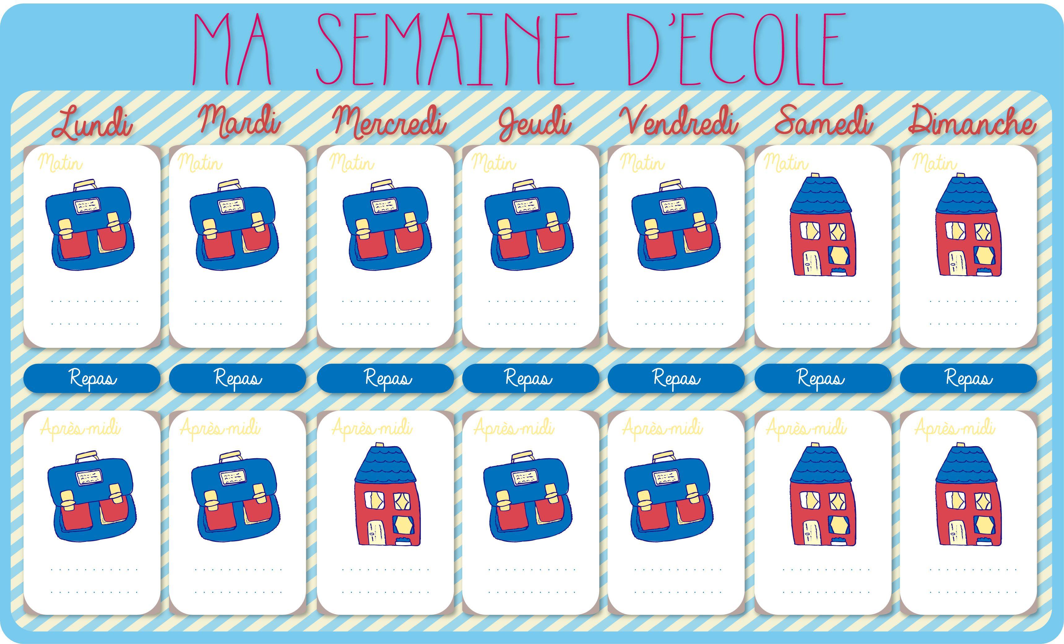 le calendrier de la semaine d 39 cole imprimer cadeau calendrier des semaines le calendrier. Black Bedroom Furniture Sets. Home Design Ideas