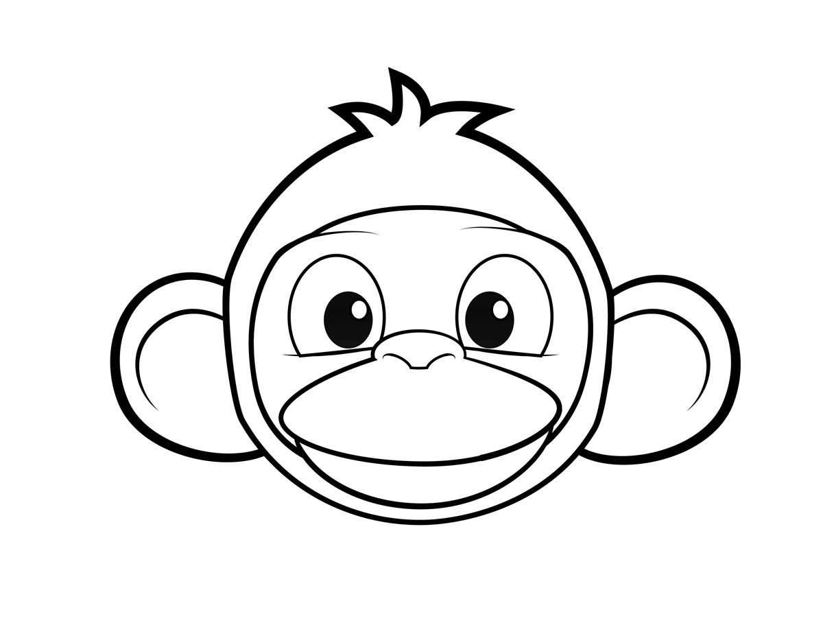 Monkey Face Coloring Page Coloring Pages