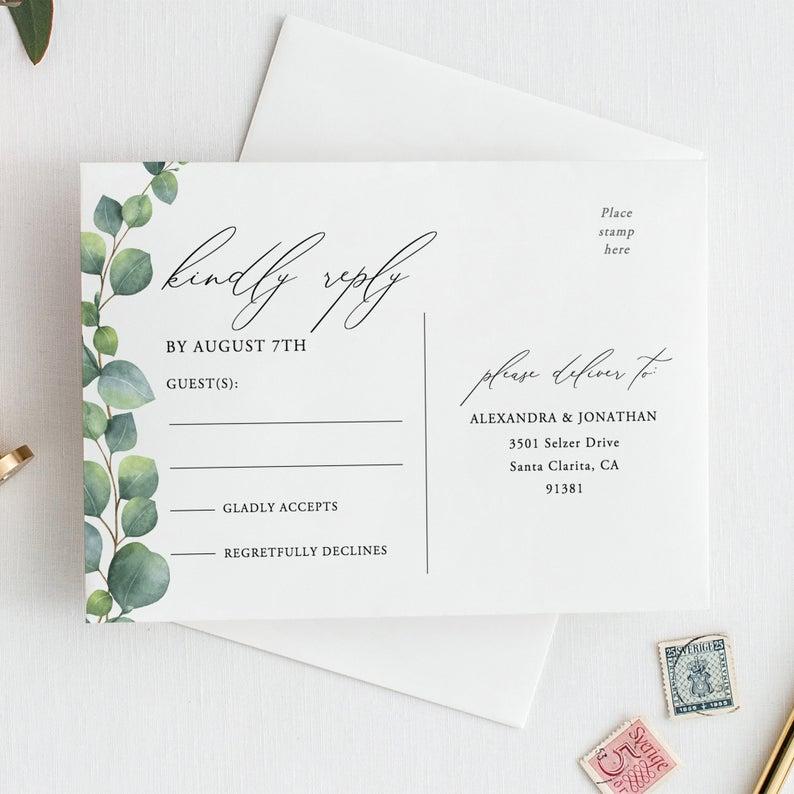 Greenery Rsvp Card Template Eucalyptus Rsvp Postcard Wedding Etsy Wedding Rsvp Postcard Rsvp Postcard Rsvp Wedding Cards Wording