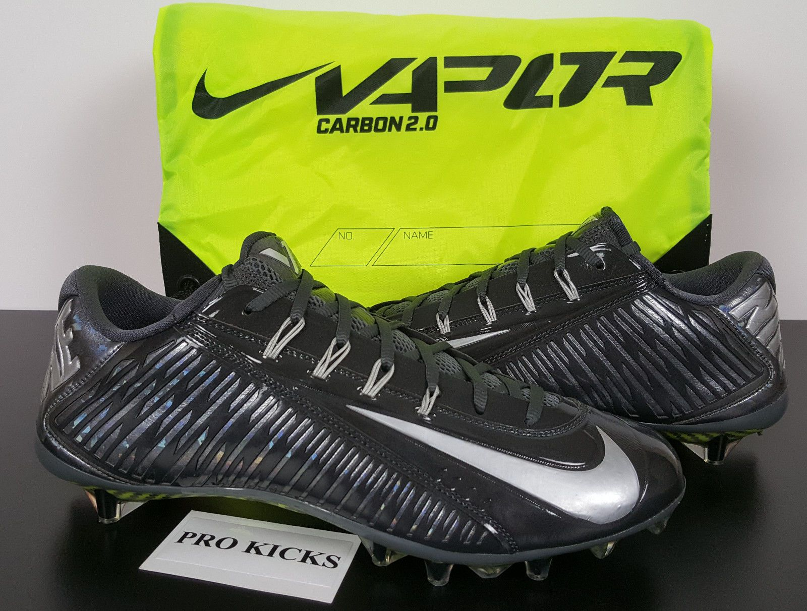 NIKE VAPOR CARBON 2.0 ELITE FOOTBALL CLEATS ANTHRACITE GREY 631425-001  (SIZE 14)