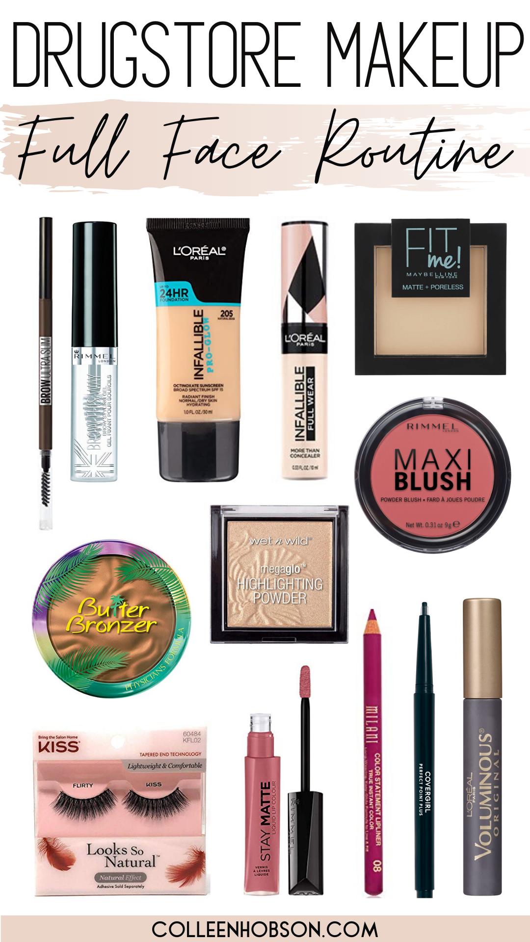 Drugstore Makeup Routine Full Face Tutorial Colleen Hobson In 2020 Drugstore Makeup Drugstore Makeup Tutorial Makeup Hacks Tutorials