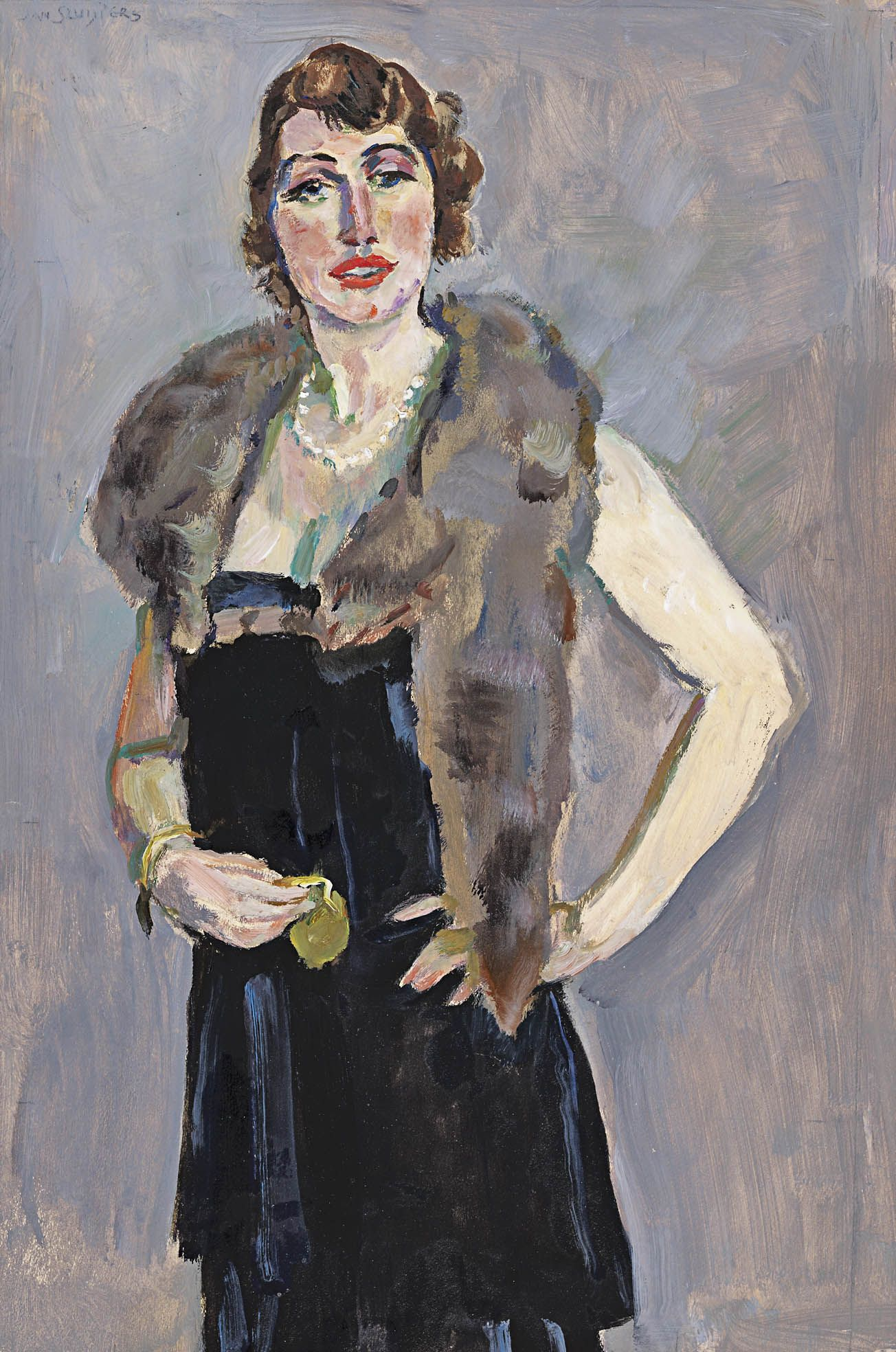 Jan Sluijters - Elegant Lady with Fur