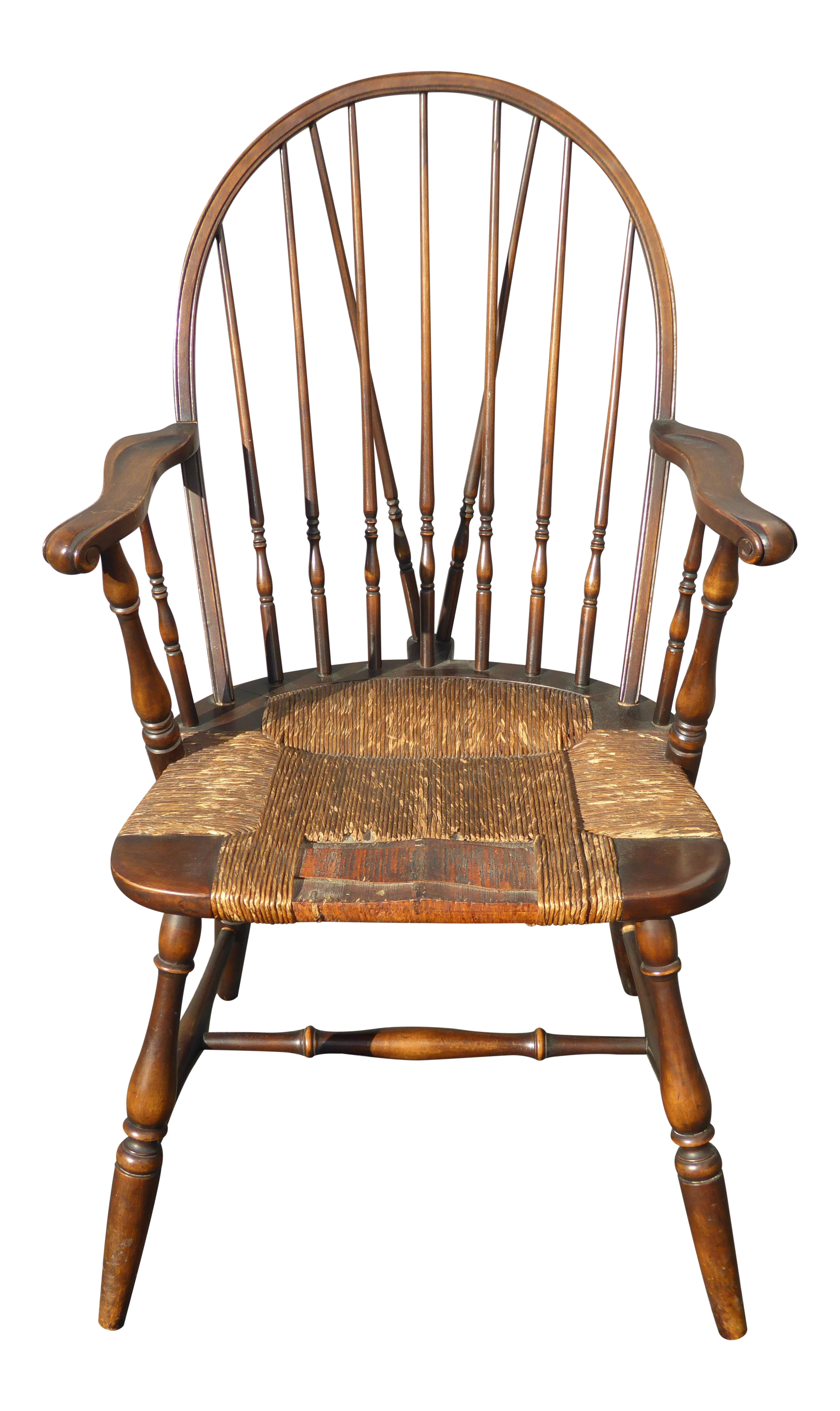 B&S Co Solid Wood Rush Seat Rustic Windsor Arm Chair on Chairish