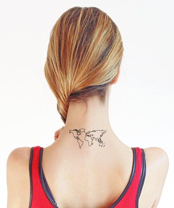 Mappamondo   Tatuaggio temporaneo set di 2 di TTTattoodotcom
